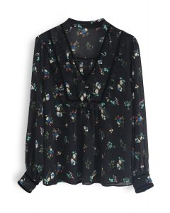 Love in Floral Chiffon Top in Black