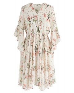 First Crush Floral V-Neck Chiffon Dress