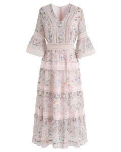 Hidden Love Floral Eyelet Chiffon Dress in Pink