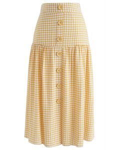 Sway Into Gingham Botton Down Midi Skirt in Yellow