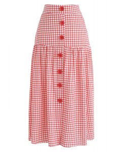 Sway Into Gingham Botton Down Midi Skirt in Red