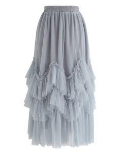 Romantic Twirl Tiered Tulle Midi Skirt in Dusty Blue