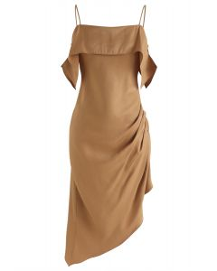Passionate Latin Asymmetric Cami Dress in Tan