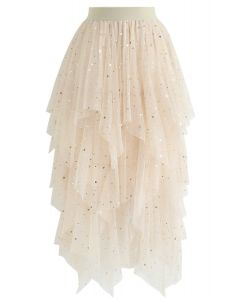 Shooting Stars Asymmetric Tiered Mesh Skirt in Cream