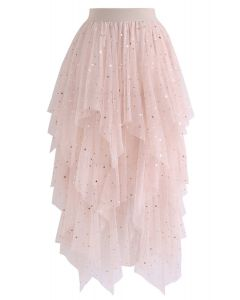 Shooting Stars Asymmetric Tiered Mesh Skirt in Pink