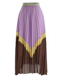 Contrasted Color Pleated Chiffon Midi Skirt in Violet
