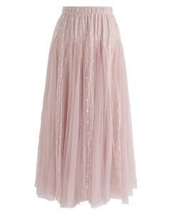 Dotted Love Flare Tulle Midi Skirt in Pink