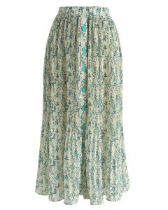 Spring Leaf Print Pleated Midi Skirt in Green