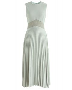 Walk of Fame Lace Inserted Pleated Dress in Pea Green