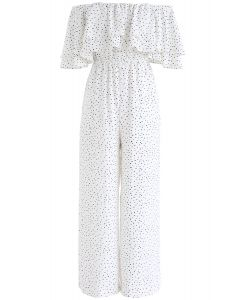 Ever Since Polka Dots Off-Shoulder Jumpsuit in White