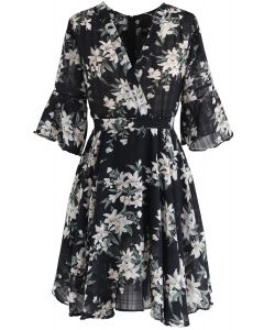 Better Than That Floral Chiffon Dress in Black