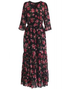 Stunning Rose Wrapped Ruffle Maxi Dress in Black