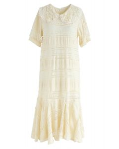 Free to Extol Frilling Lace Dress in Cream