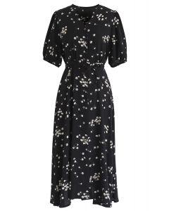 Meet Me In Daisy Field Button Down Dress in Black