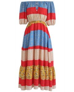 Passion for Boho Off-Shoulder Dress in Blue