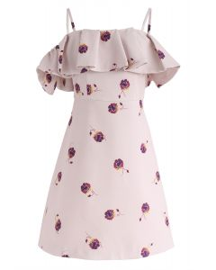 Beauty Remains Floral Print Cold-Shoulder Dress