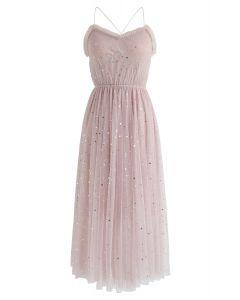 Brighter Stars Cross Back Mesh Dress in Pink