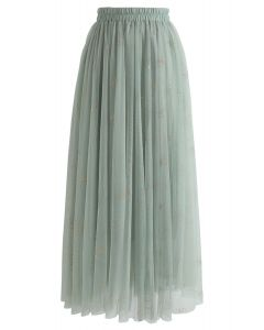 Frankly Shining Tulle Maxi Skirt in Mint