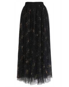 Frankly Shining Tulle Maxi Skirt in Black