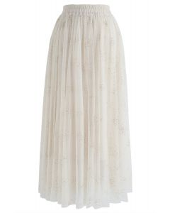 Frankly Shining Tulle Maxi Skirt in Cream
