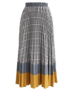 Between Us Plaid Pleated Midi Skirt in Mustard