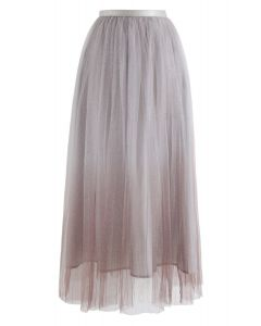 Miracle Night Tulle Maxi Skirt in Brown