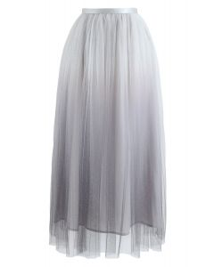 Miracle Night Tulle Maxi Skirt in Grey