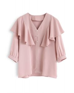 Let's Fall in Love Ruffle Top in Pink