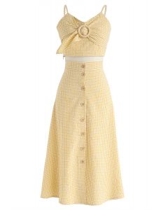 Let's Plan Our Trip Gingham Cami Top and Skirt Set in Yellow