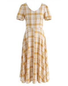 Sunny Treat Plaid Midi Dress in Mustard