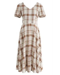 Sunny Treat Plaid Midi Dress in Brown