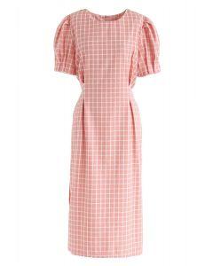 Around My Dream Grid Dress in Pink