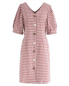 Gingham Attack Button Down V-Neck Dress in Red
