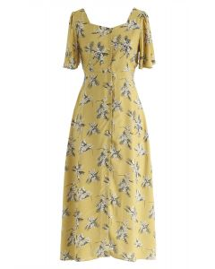 Summer Sunset Open-Back Print Midi Dress in Mustard