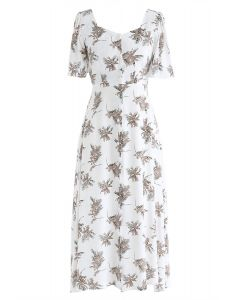Summer Sunset Open-Back Print Midi Dress in Ivory