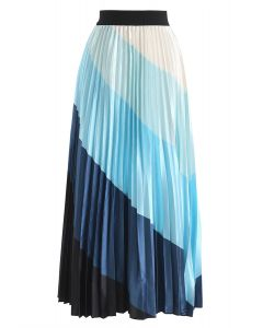 Drama in Color Stripe Pleated Maxi Skirt in Blue