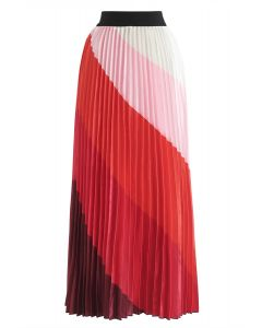 Drama in Color Stripe Pleated Maxi Skirt in Red