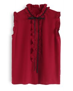 Bit of Frill Sleeveless Chiffon Top in Red