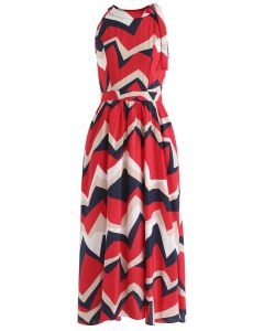 Endless Color Halter Neck Maxi Dress in Red
