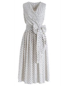 Wide Spaces Polka Dots Wrapped Dress in Navy