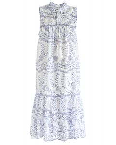 Try To Be Boho Eyelet Dress in Blue Embroidery