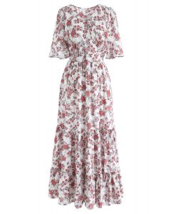 Floral Fairyland Wrap Chiffon Maxi Dress in White