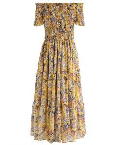 Vintage Floral Off-Shoulder Chiffon Maxi Dress