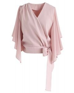 Chic Natural Cropped Cape Top in Pink