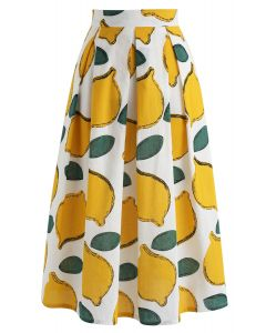 Summer Cool Lemon A-Line Midi Skirt