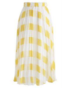 True Adorer Check Pleated Midi Skirt in Yellow