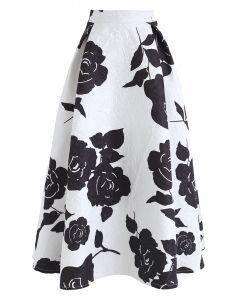 Mysterious Rosa Embossed Print Midi Skirt