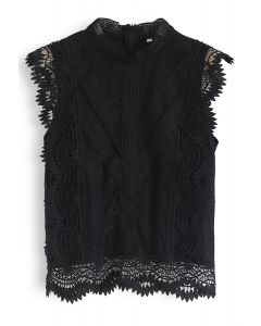 Lace is More Sleeveless Top in Black