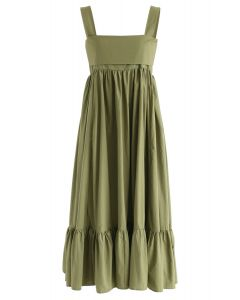 Joyful Aspects Backless Midi Dress in Army Green
