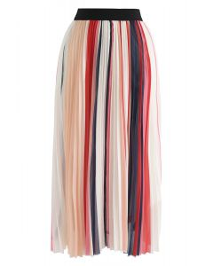 Contrasted Color Stripes Pleated Midi Skirt in Red